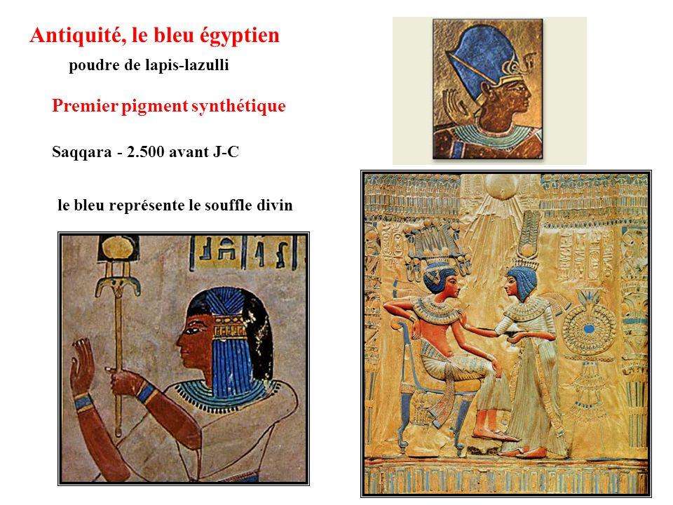 Antiquité, le bleu égyptien poudre de lapis-lazulli Premier pigment synthétique le bleu représente le souffle divin Saqqara - 2.500 avant J-C