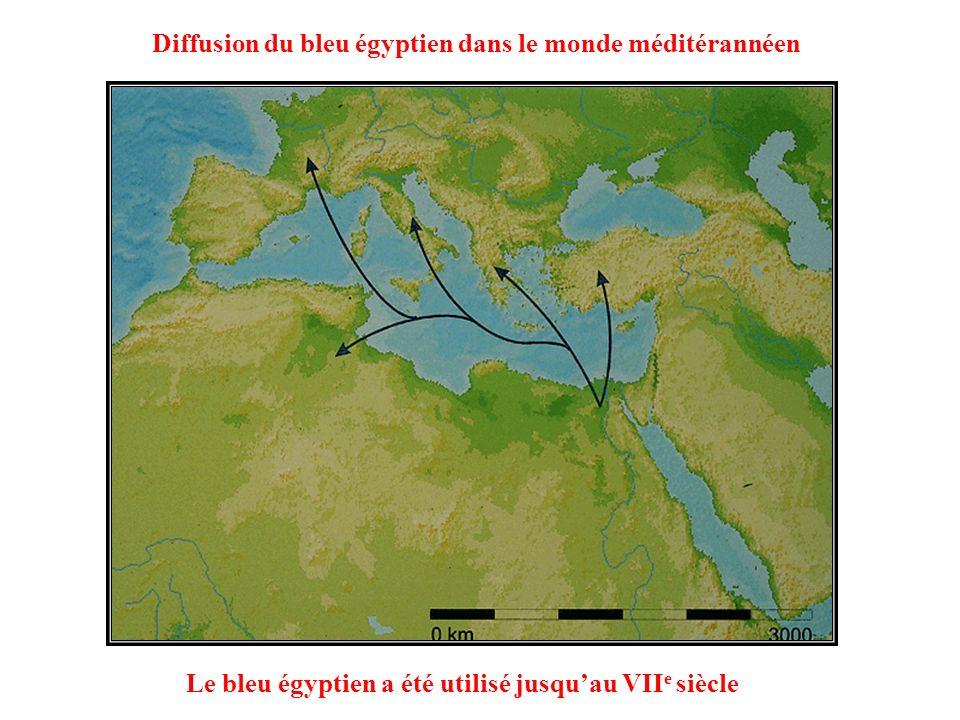 001 002 Le bleu égyptien a été utilisé jusquau VII e siècle Diffusion du bleu égyptien dans le monde méditérannéen