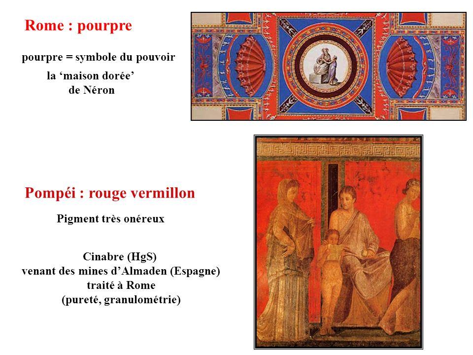 Rome : pourpre pourpre = symbole du pouvoir la maison dorée de Néron Pompéi : rouge vermillon Cinabre (HgS) venant des mines dAlmaden (Espagne) traité