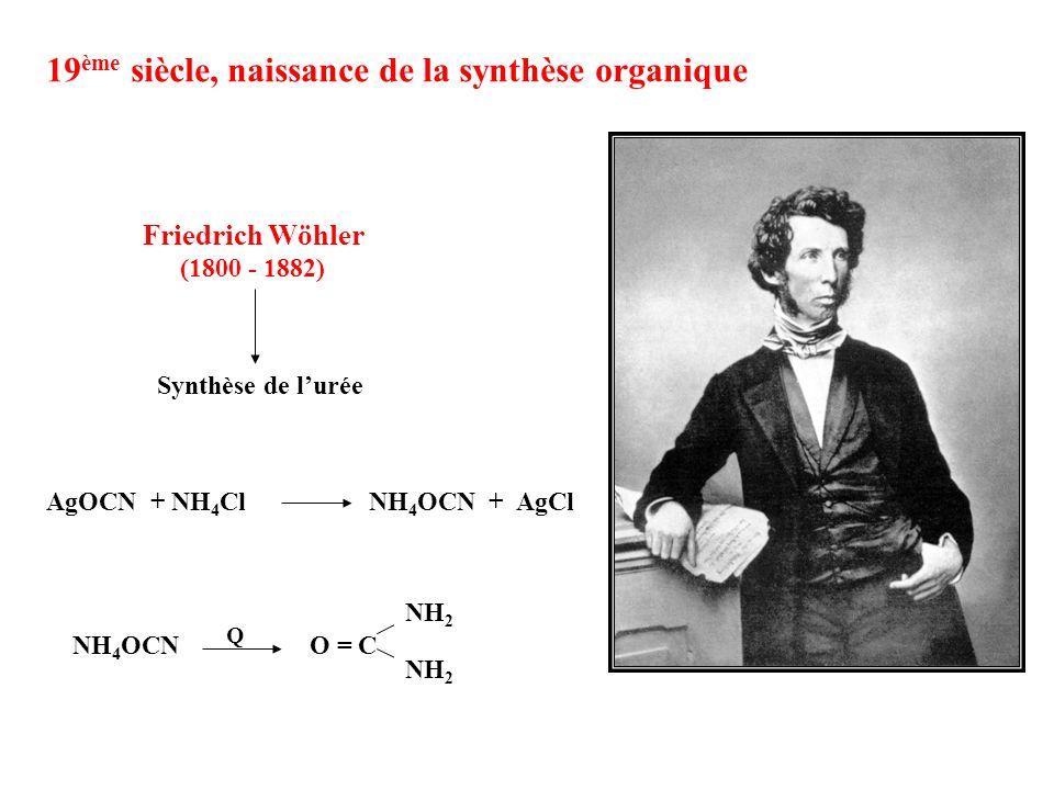 Synthèse de lurée 19 ème siècle, naissance de la synthèse organique NH 4 OCN O = C NH 2 Q AgOCN + NH 4 Cl NH 4 OCN + AgCl Friedrich Wöhler (1800 - 188