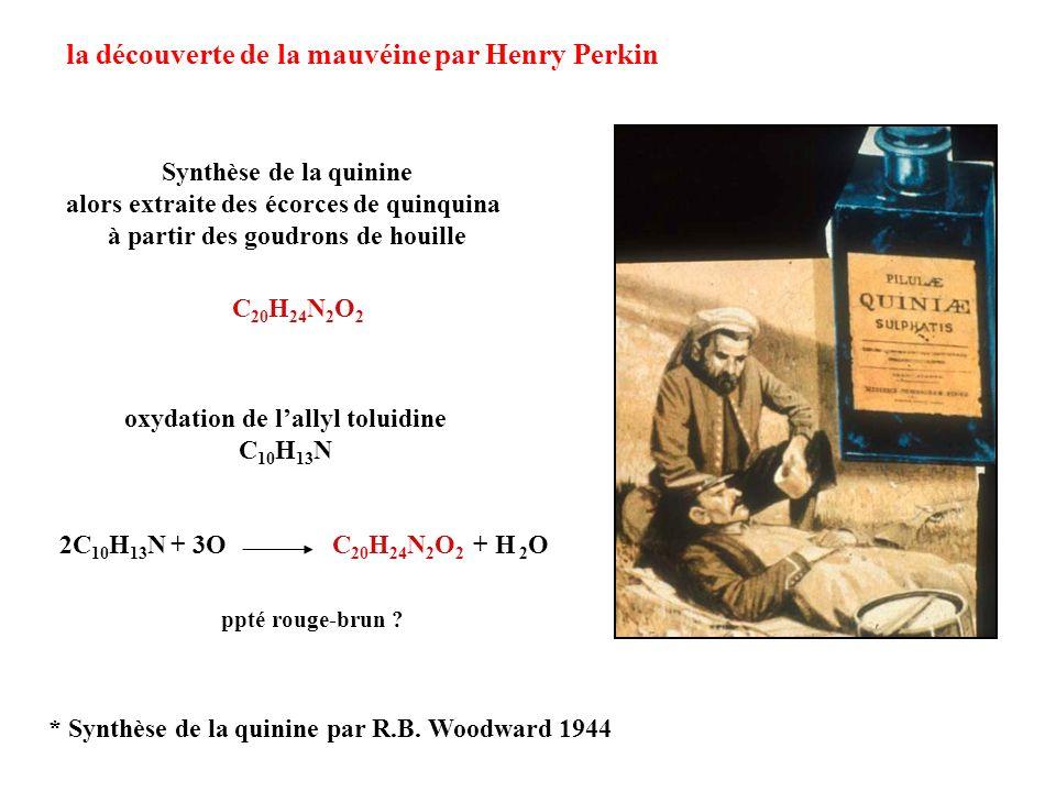 la découverte de la mauvéine par Henry Perkin C 20 H 24 N 2 O 2 2C 10 H 13 N + 3OC 20 H 24 N 2 O 2 + H 2 O ppté rouge-brun ? Synthèse de la quinine al