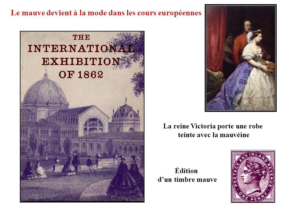 Édition dun timbre mauve Le mauve devient à la mode dans les cours européennes La reine Victoria porte une robe teinte avec la mauvéine