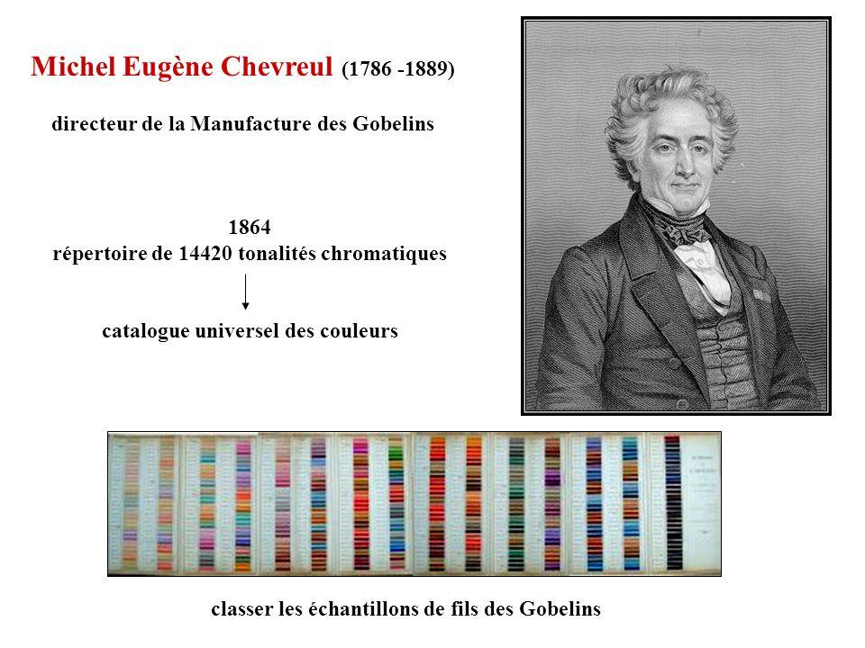 Michel Eugène Chevreul (1786 -1889) directeur de la Manufacture des Gobelins 1864 répertoire de 14420 tonalités chromatiques catalogue universel des c
