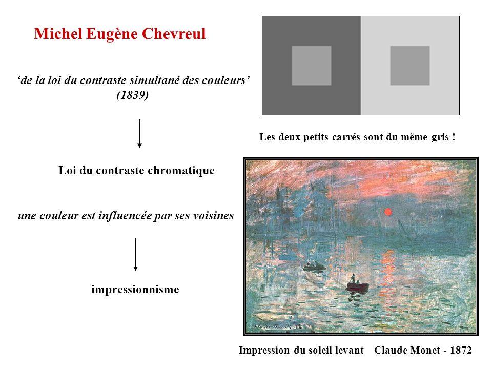Michel Eugène Chevreul de la loi du contraste simultané des couleurs (1839) Loi du contraste chromatique impressionnisme Les deux petits carrés sont d