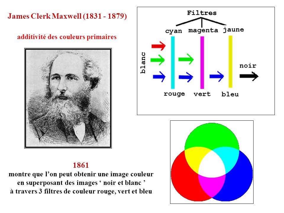 1861 montre que lon peut obtenir une image couleur en superposant des images noir et blanc à travers 3 filtres de couleur rouge, vert et bleu James Cl