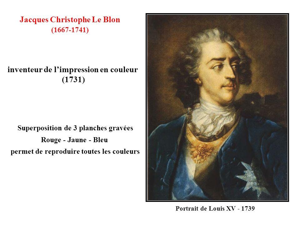 Jacques Christophe Le Blon (1667-1741) Superposition de 3 planches gravées Rouge - Jaune - Bleu permet de reproduire toutes les couleurs inventeur de