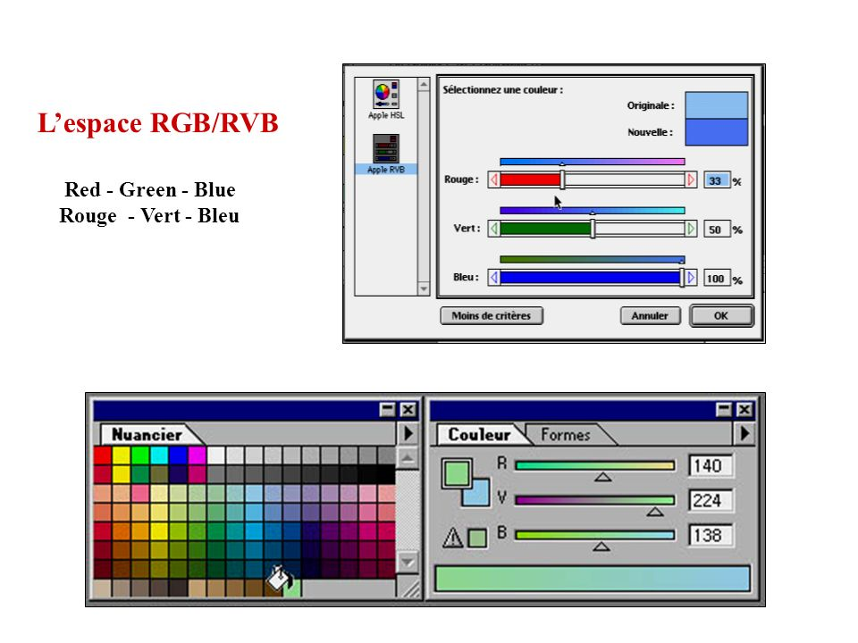 Lespace RGB/RVB Red - Green - Blue Rouge - Vert - Bleu