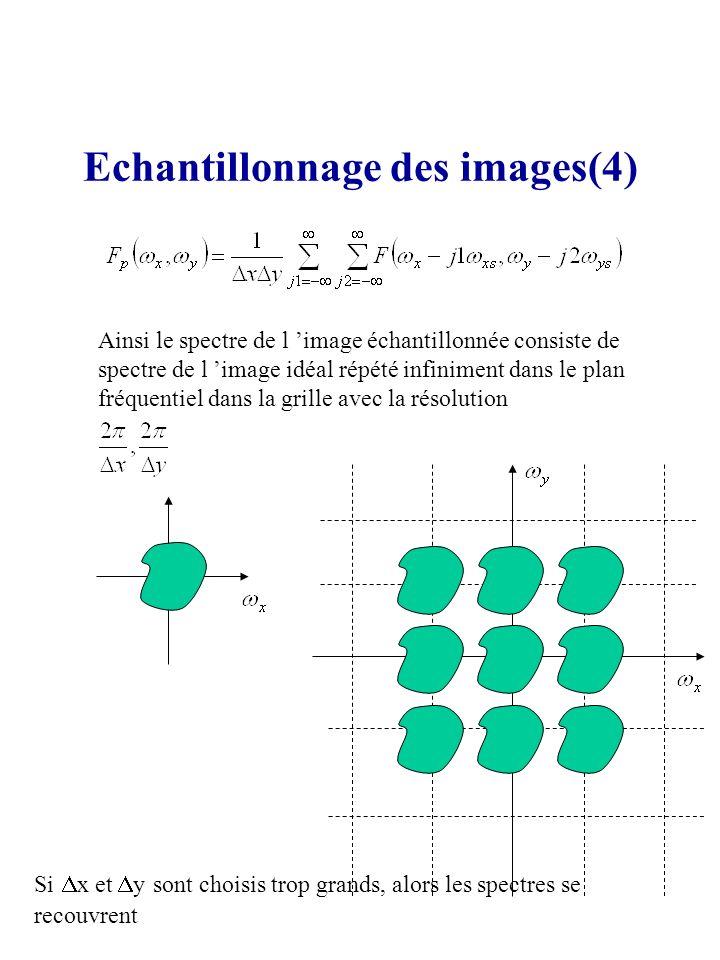 Echantillonnage des images(4) Ainsi le spectre de l image échantillonnée consiste de spectre de l image idéal répété infiniment dans le plan fréquenti