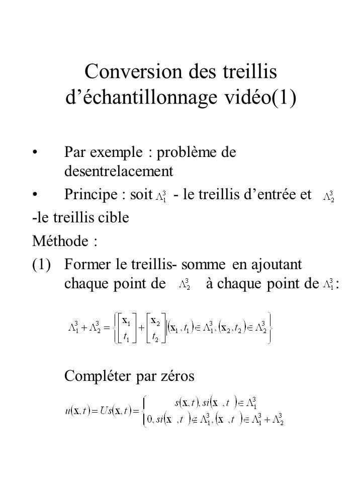 Conversion des treillis déchantillonnage vidéo(1) Par exemple : problème de desentrelacement Principe : soit - le treillis dentrée et -le treillis cib