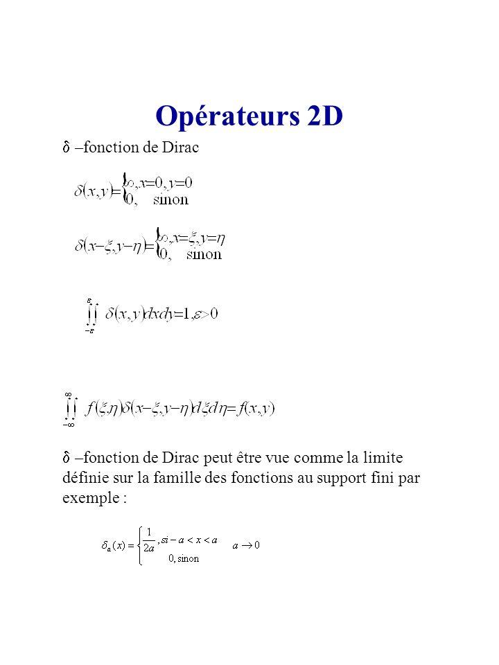 Opérateurs 2D –fonction de Dirac –fonction de Dirac peut être vue comme la limite définie sur la famille des fonctions au support fini par exemple :