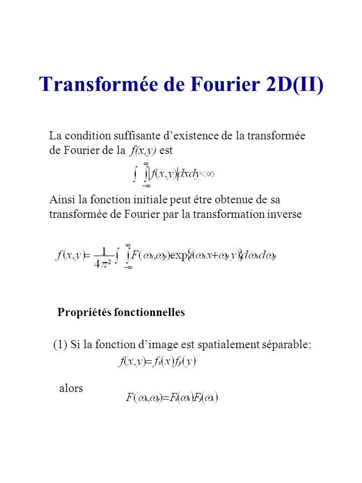Transformée de Fourier 2D(II) La condition suffisante dexistence de la transformée de Fourier de la f(x,y) est Ainsi la fonction initiale peut être ob