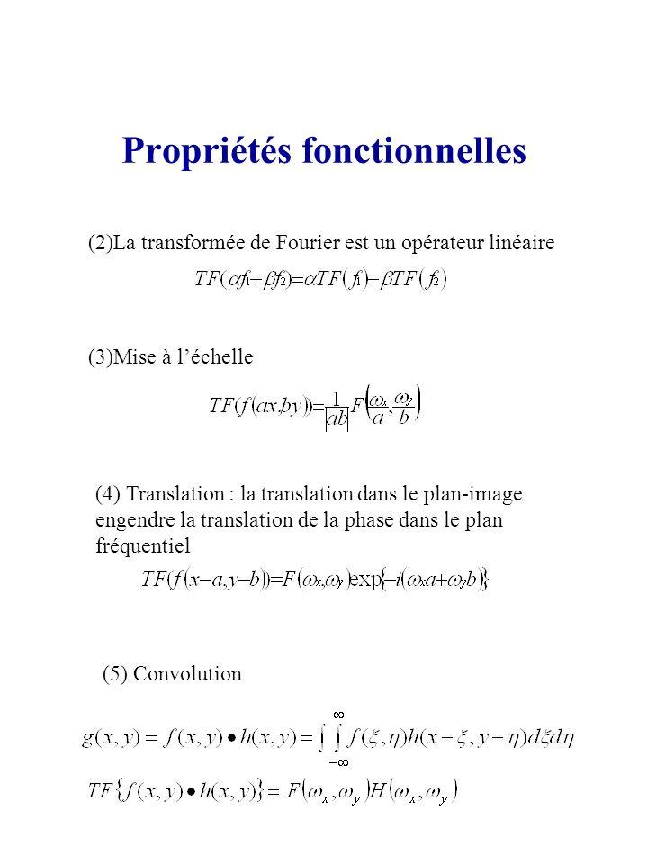 Propriétés fonctionnelles (2)La transformée de Fourier est un opérateur linéaire (3)Mise à léchelle (4) Translation : la translation dans le plan-imag