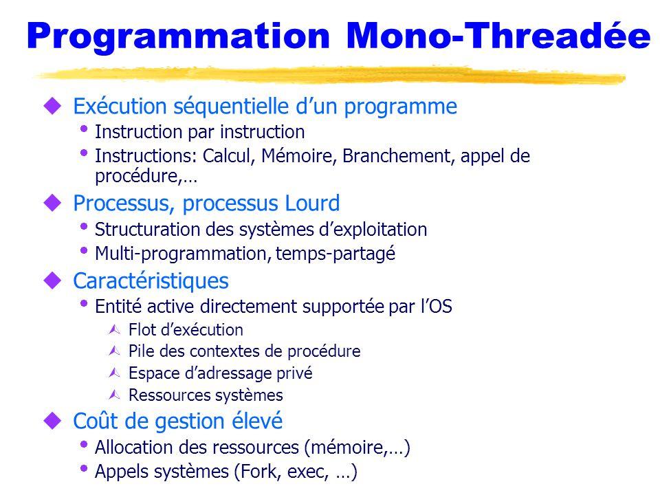 Programmation Mono-Threadée u Exécution séquentielle dun programme Instruction par instruction Instructions: Calcul, Mémoire, Branchement, appel de pr