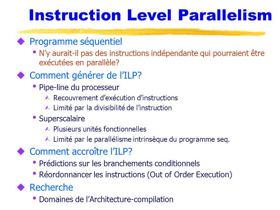 Instruction Level Parallelism u Programme séquentiel Ny aurait-il pas des instructions indépendante qui pourraient être exécutées en parallèle? u Comm