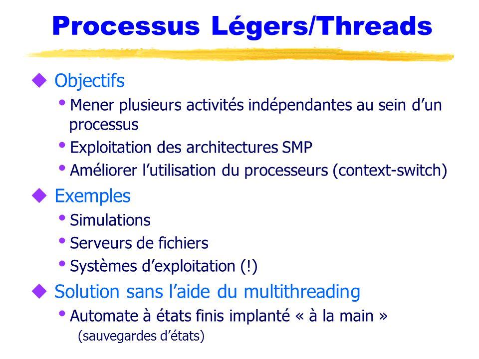 Processus Légers/Threads u Objectifs Mener plusieurs activités indépendantes au sein dun processus Exploitation des architectures SMP Améliorer lutili