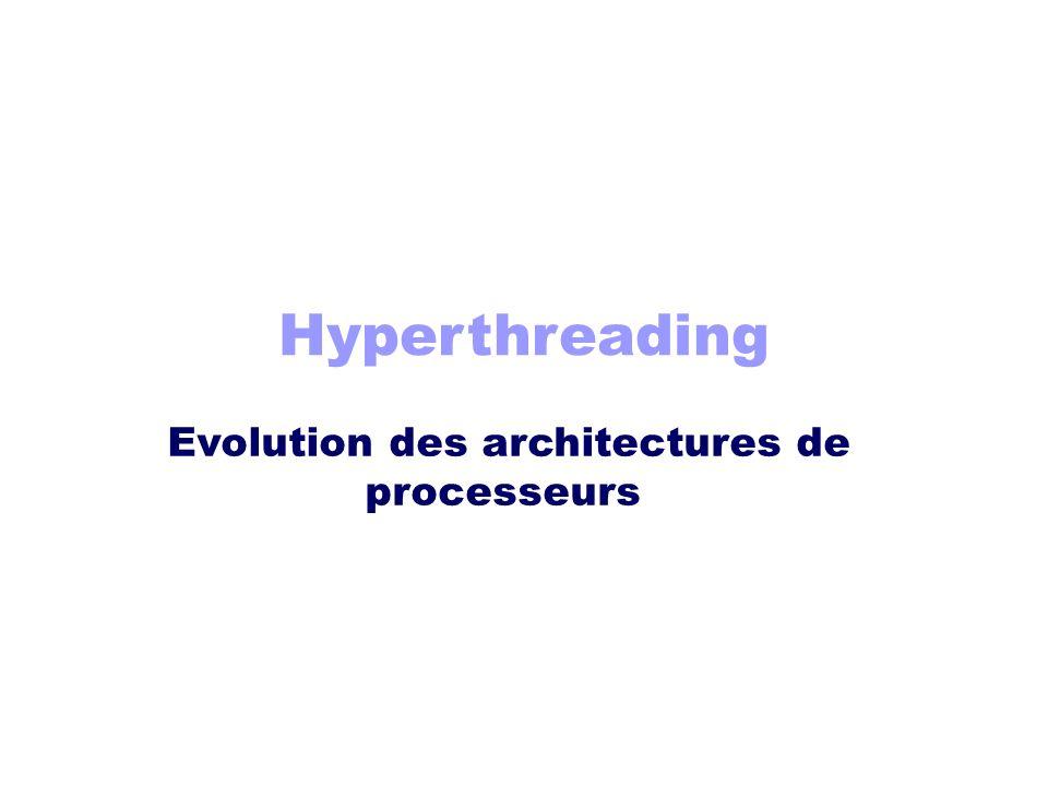 Hyperthreading Evolution des architectures de processeurs