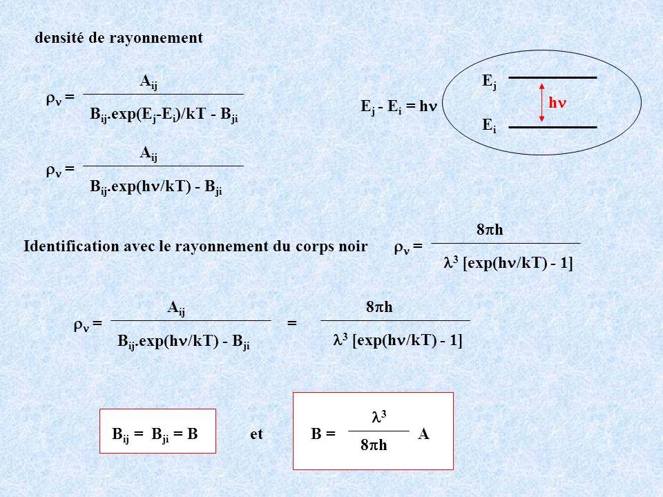 Identification avec le rayonnement du corps noir = 8 h 3 [exp(h /kT) - 1] = 8 h 3 [exp(h /kT) - 1] = A ij B ij.exp(h /kT) - B ji = A ij B ij.exp(h /kT