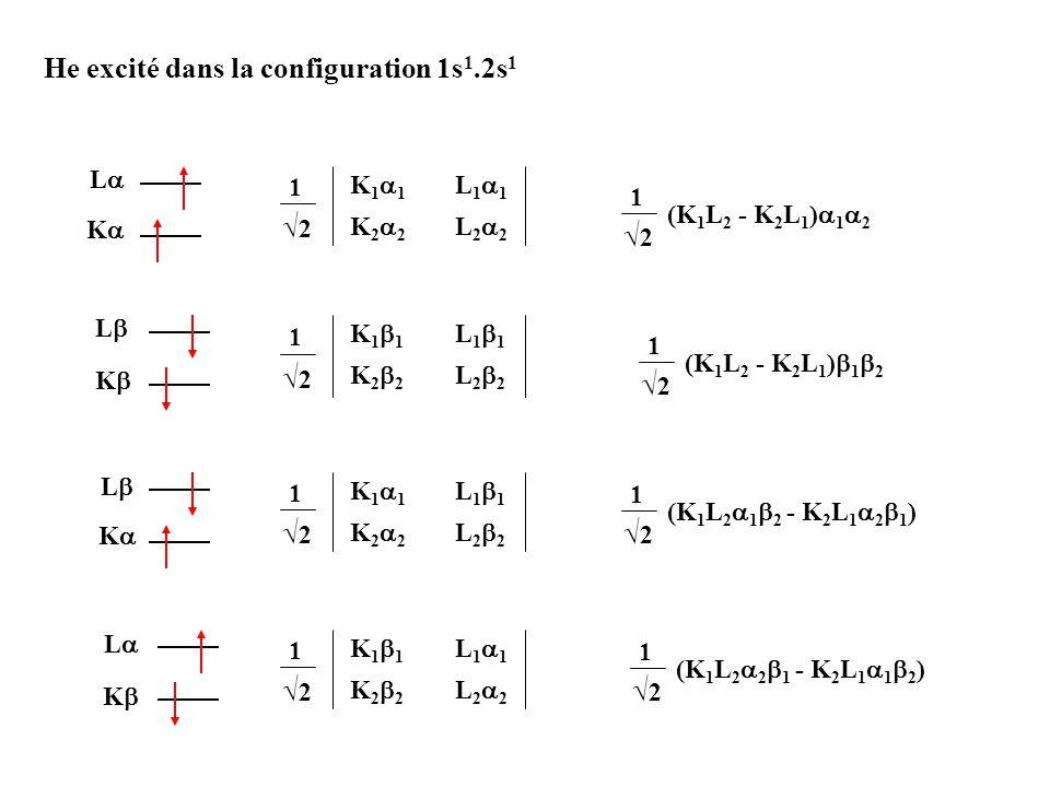 He excité dans la configuration 1s 1.2s 1 K L K 1 1 L 1 1 K 2 2 L 2 2 1 2 K L K L K L K 1 1 L 1 1 K 2 2 L 2 2 1 2 K 1 1 L 1 1 K 2 2 L 2 2 1 2 K 1 1 L
