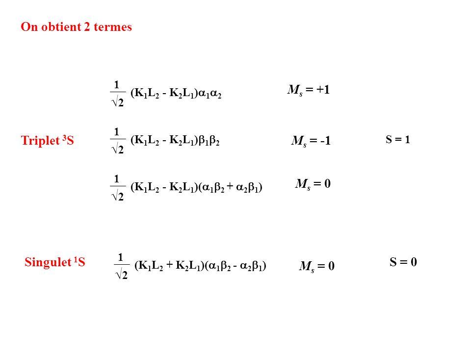 (K 1 L 2 + K 2 L 1 )( 1 2 - 2 1 ) 1 2 On obtient 2 termes (K 1 L 2 - K 2 L 1 )( 1 2 + 2 1 ) 1 2 (K 1 L 2 - K 2 L 1 ) 1 2 1 2 1 2 Triplet 3 S Singulet
