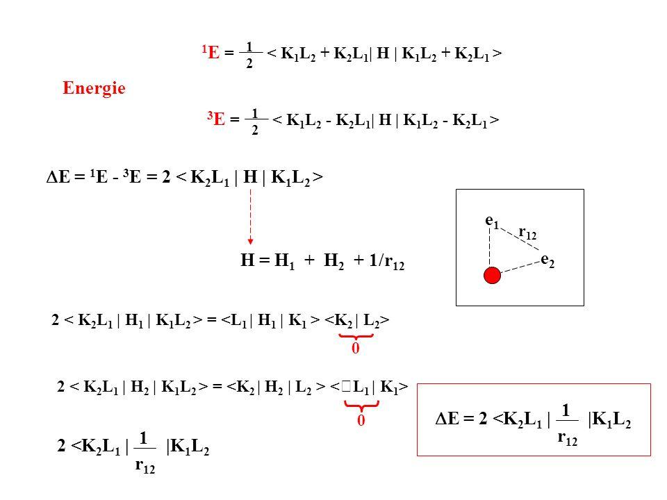 Energie 1 E = < K 1 L 2 + K 2 L 1 | H | 1 2 K 1 L 2 + K 2 L 1 > 3 E = < K 1 L 2 - K 2 L 1 | H | 1 2 K 1 L 2 - K 2 L 1 > E = 1 E - 3 E = 2 H = H 1 + H