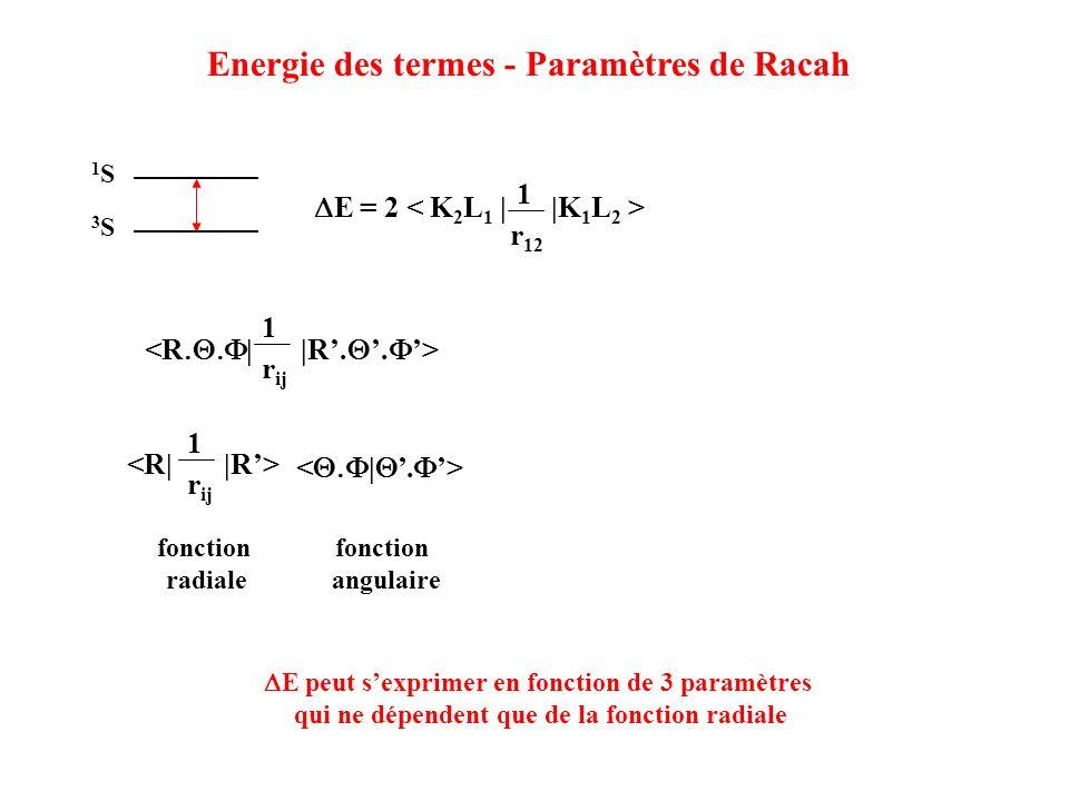 Energie des termes - Paramètres de Racah 3S3S 1S1S E = 2 1 r 12 1 r ij 1 r ij fonction radiale fonction angulaire E peut sexprimer en fonction de 3 pa