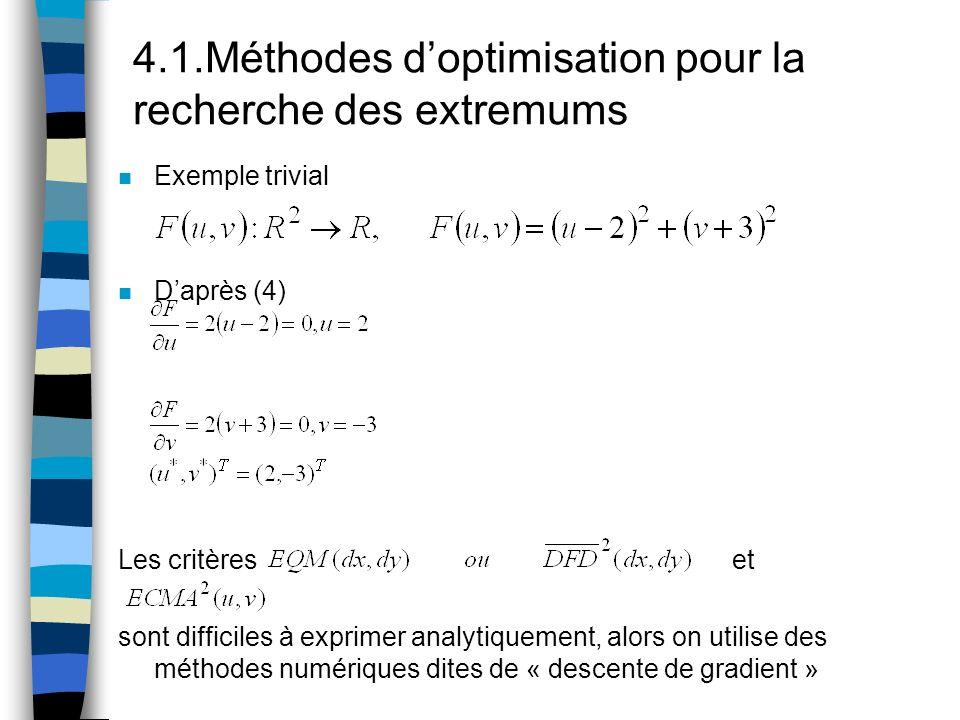 4.1.Méthodes doptimisation pour la recherche des extremums n Exemple trivial n Daprès (4) Les critères et sont difficiles à exprimer analytiquement, a