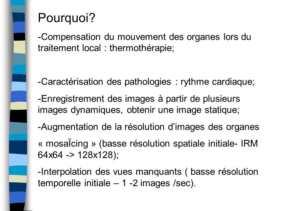 Pourquoi? -Compensation du mouvement des organes lors du traitement local : thermothérapie; -Caractérisation des pathologies : rythme cardiaque; -Enre
