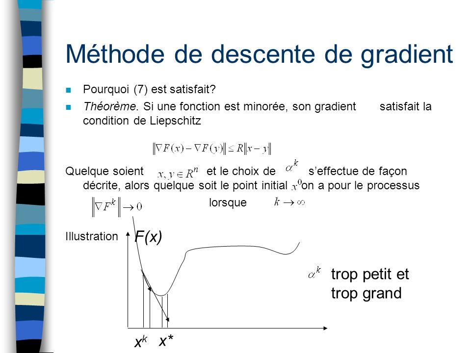 Méthode de descente de gradient n Pourquoi (7) est satisfait? n Théorème. Si une fonction est minorée, son gradient satisfait la condition de Liepschi