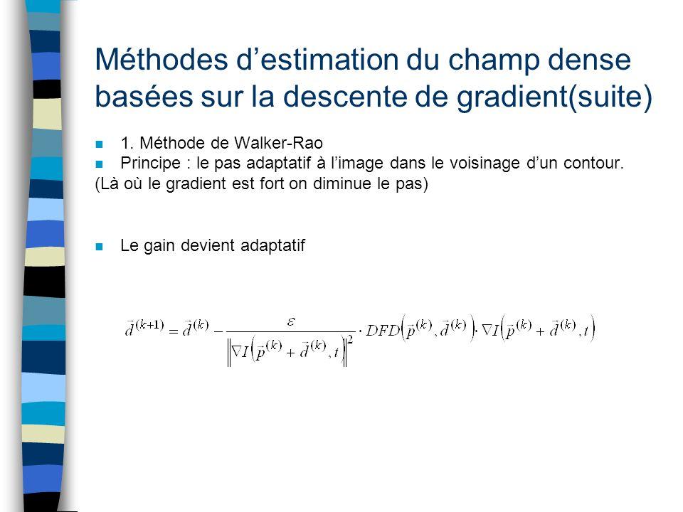 Méthodes destimation du champ dense basées sur la descente de gradient(suite) n 1. Méthode de Walker-Rao n Principe : le pas adaptatif à limage dans l