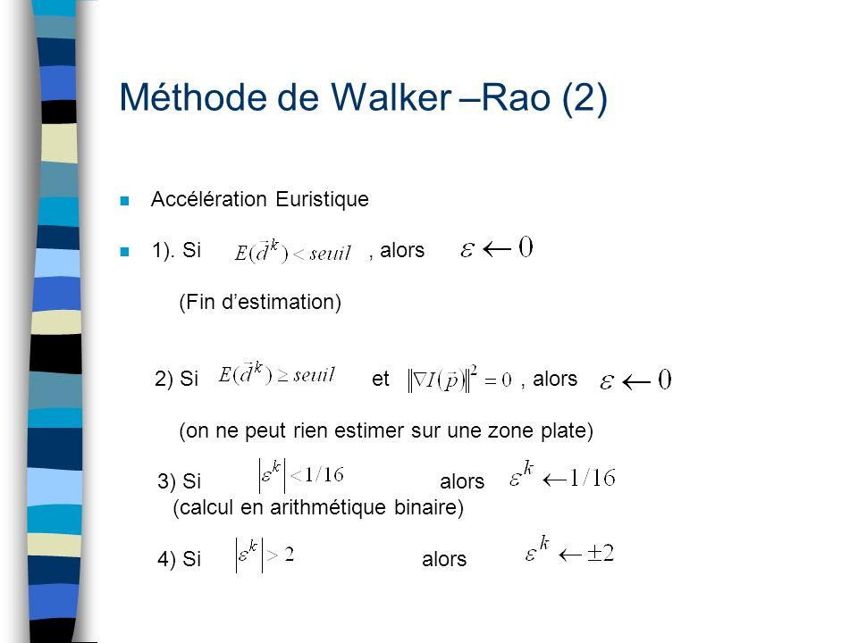 Méthode de Walker –Rao (2) n Accélération Euristique n 1). Si, alors (Fin destimation) 2) Si et, alors (on ne peut rien estimer sur une zone plate) 3)