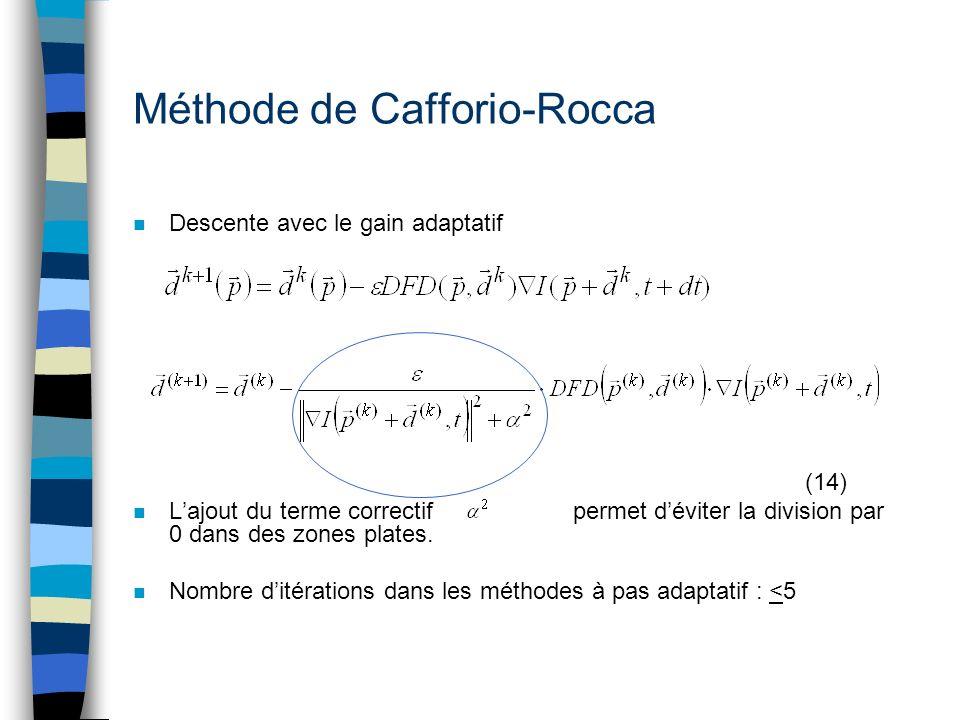 Méthode de Cafforio-Rocca n Descente avec le gain adaptatif (14) n Lajout du terme correctif permet déviter la division par 0 dans des zones plates. n