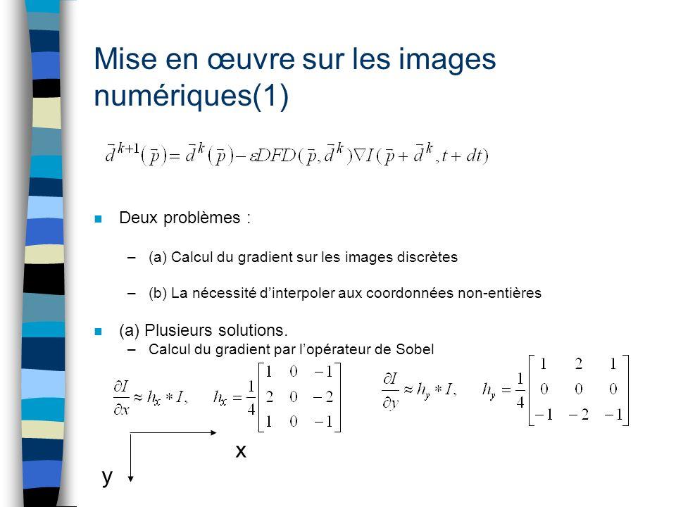Mise en œuvre sur les images numériques(1) n Deux problèmes : –(a) Calcul du gradient sur les images discrètes –(b) La nécessité dinterpoler aux coord