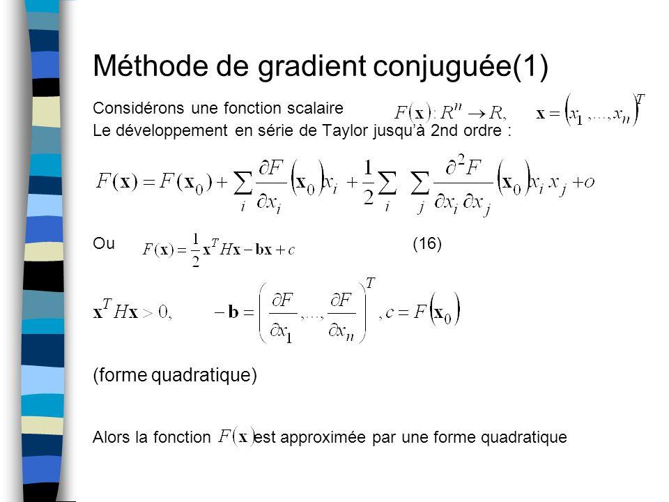 Méthode de gradient conjuguée(1) Considérons une fonction scalaire Le développement en série de Taylor jusquà 2nd ordre : Ou (16) (forme quadratique)