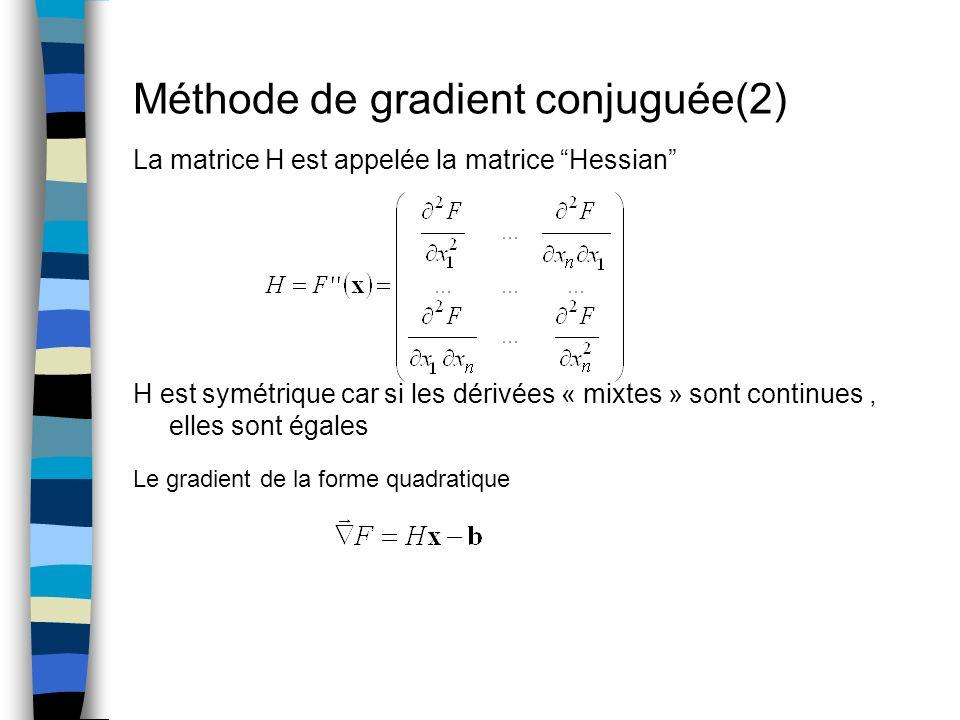 Méthode de gradient conjuguée(2) La matrice H est appelée la matrice Hessian H est symétrique car si les dérivées « mixtes » sont continues, elles son