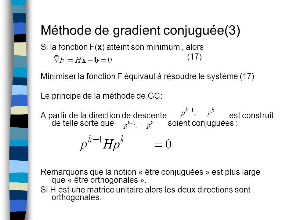 Méthode de gradient conjuguée(3) Si la fonction F(x) atteint son minimum, alors (17) Minimiser la fonction F équivaut à résoudre le système (17) Le pr