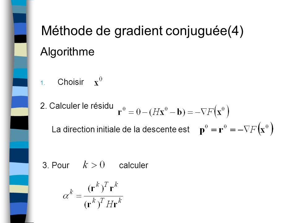 Méthode de gradient conjuguée(4) Algorithme 1. Choisir 2. Calculer le résidu La direction initiale de la descente est 3. Pour calculer