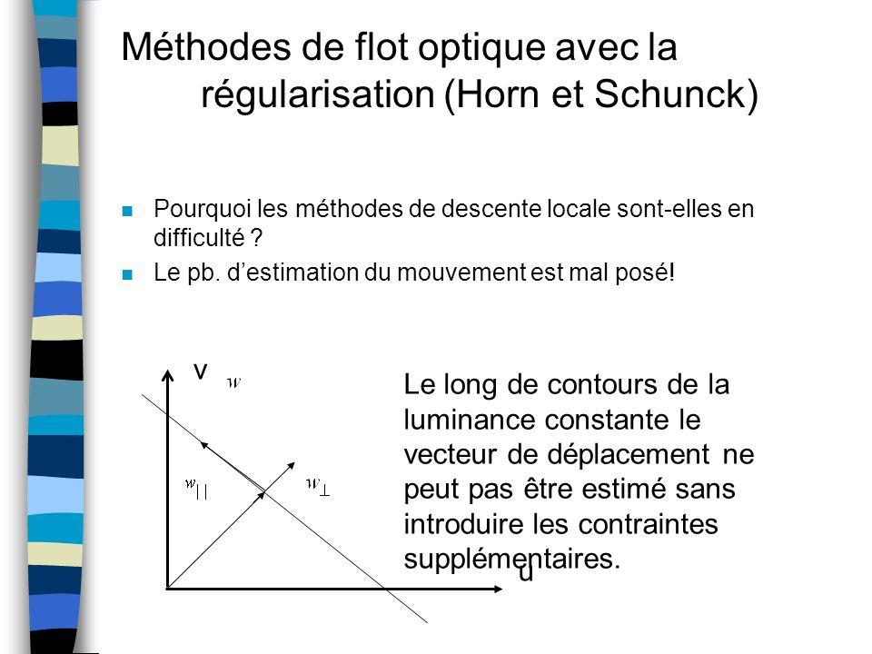 Méthodes de flot optique avec la régularisation (Horn et Schunck) n Pourquoi les méthodes de descente locale sont-elles en difficulté ? n Le pb. desti