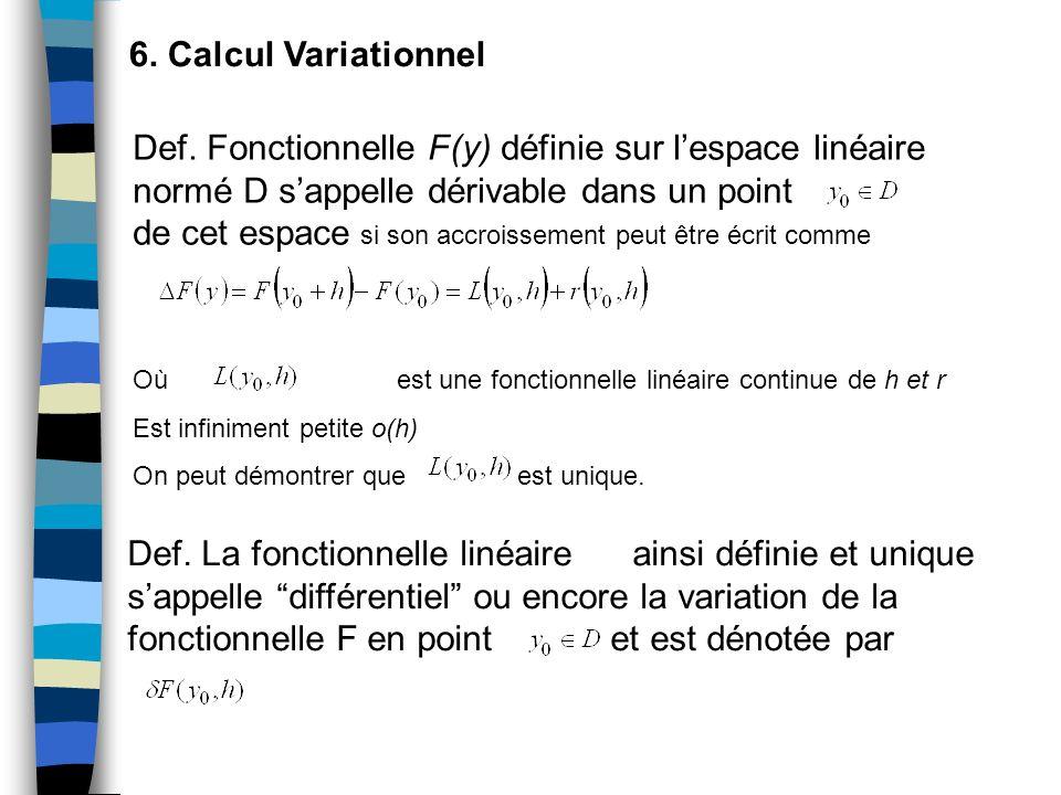 6. Calcul Variationnel Def. Fonctionnelle F(y) définie sur lespace linéaire normé D sappelle dérivable dans un point de cet espace si son accroissemen