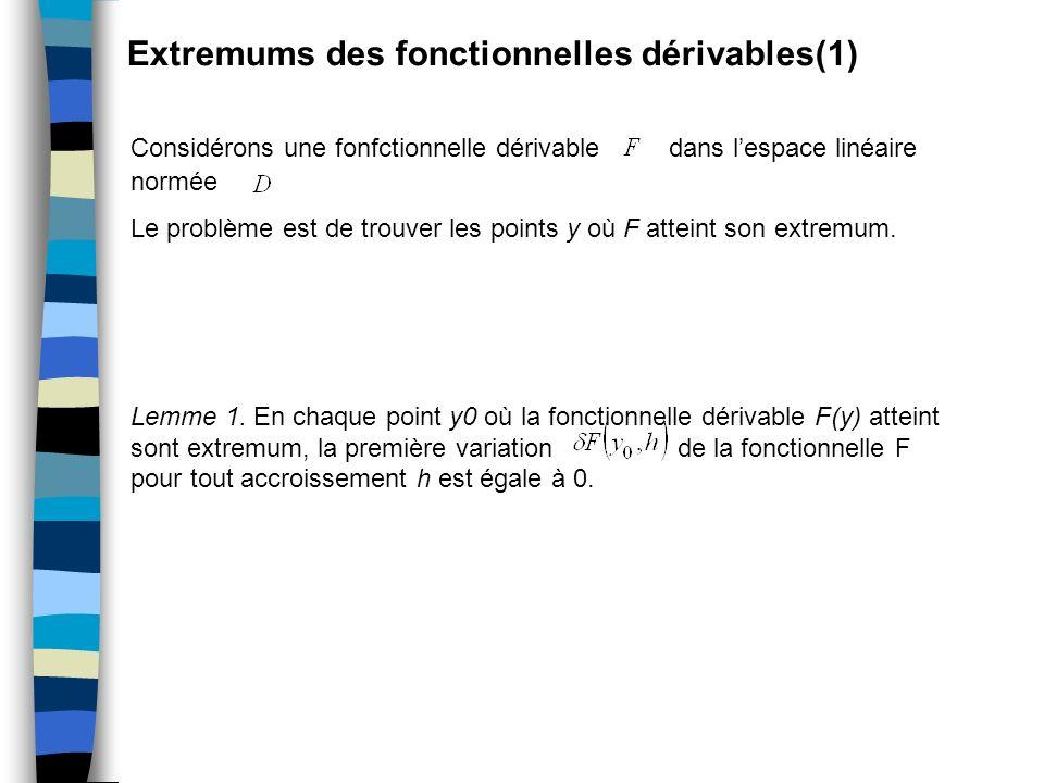Extremums des fonctionnelles dérivables(1) Considérons une fonfctionnelle dérivable dans lespace linéaire normée Le problème est de trouver les points