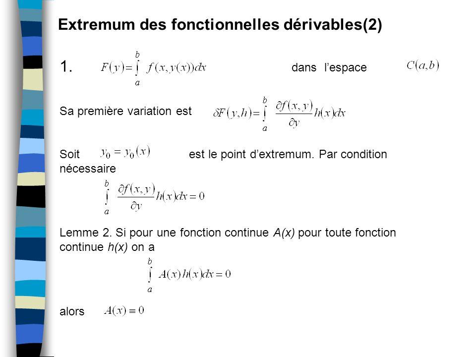 Extremum des fonctionnelles dérivables(2) 1. dans lespace Sa première variation est Soit est le point dextremum. Par condition nécessaire Lemme 2. Si