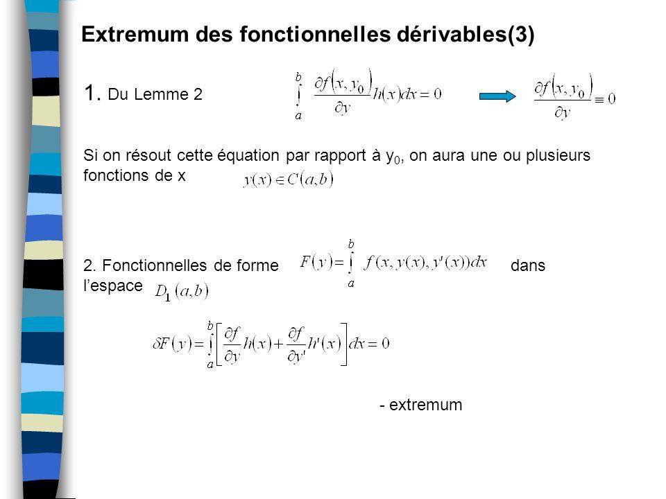 Extremum des fonctionnelles dérivables(3) 1. Du Lemme 2 Si on résout cette équation par rapport à y 0, on aura une ou plusieurs fonctions de x 2. Fonc