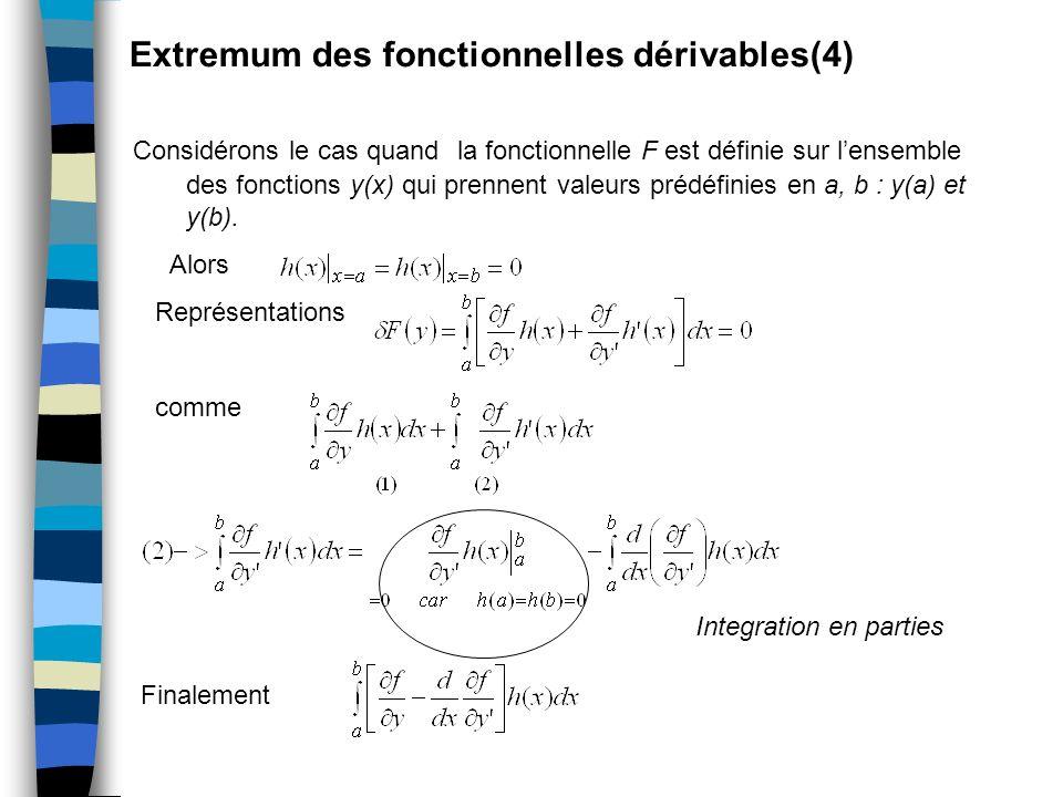 Extremum des fonctionnelles dérivables(4) Considérons le cas quand la fonctionnelle F est définie sur lensemble des fonctions y(x) qui prennent valeur