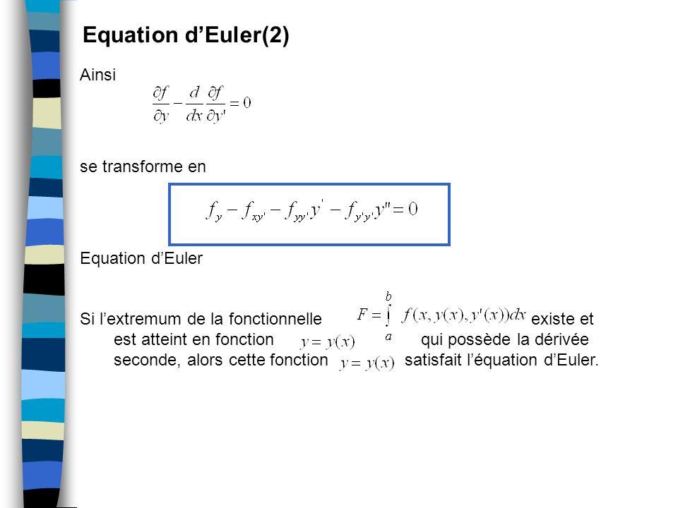 Equation dEuler(2) Ainsi se transforme en Equation dEuler Si lextremum de la fonctionnelle existe et est atteint en fonction qui possède la dérivée se