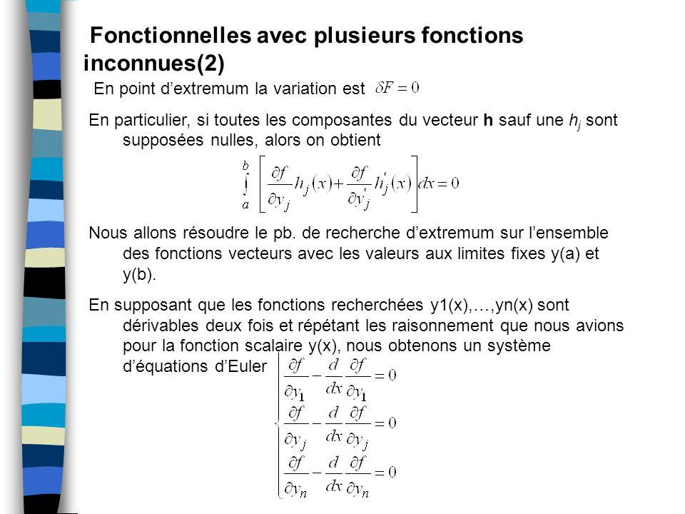 Fonctionnelles avec plusieurs fonctions inconnues(2) En point dextremum la variation est En particulier, si toutes les composantes du vecteur h sauf u