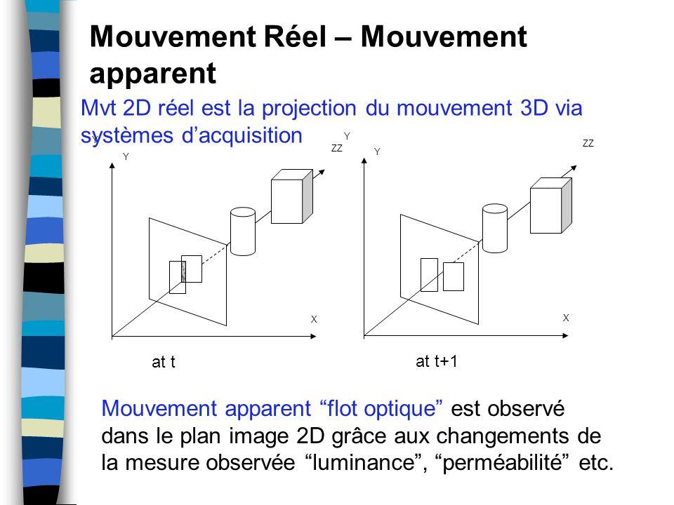 Mouvement Réel – Mouvement apparent Mvt 2D réel est la projection du mouvement 3D via systèmes dacquisition Y ZZ X Y Y X Y at t at t+1 Mouvement appar