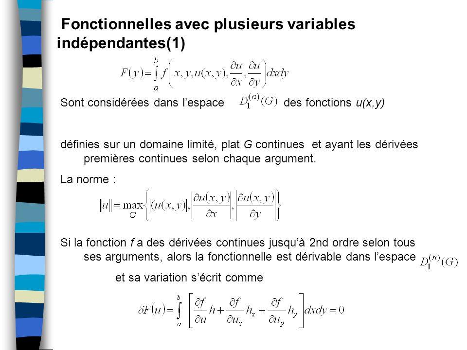 Fonctionnelles avec plusieurs variables indépendantes(1) Sont considérées dans lespace des fonctions u(x,y) définies sur un domaine limité, plat G con