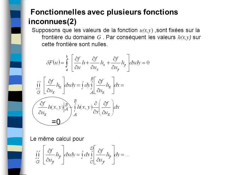 Fonctionnelles avec plusieurs fonctions inconnues(2) Supposons que les valeurs de la fonction u(x,y),sont fixées sur la frontière du domaine G. Par co