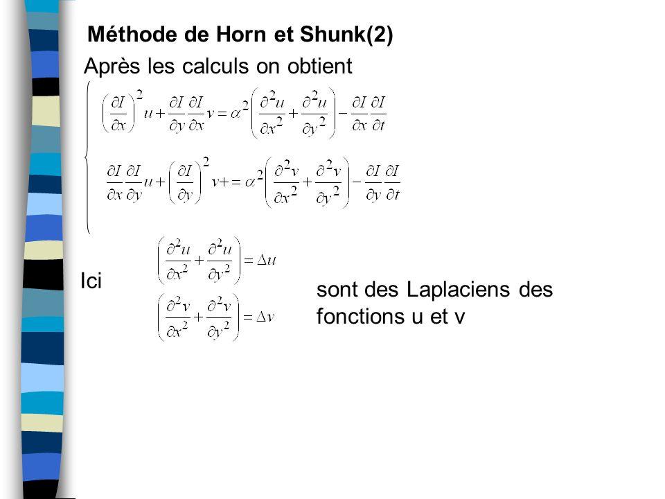 Méthode de Horn et Shunk(2) Après les calculs on obtient Ici sont des Laplaciens des fonctions u et v