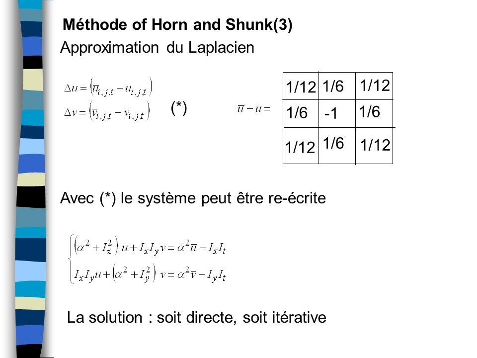 Méthode of Horn and Shunk(3) Approximation du Laplacien 1/12 1/6 (*) Avec (*) le système peut être re-écrite La solution : soit directe, soit itérativ