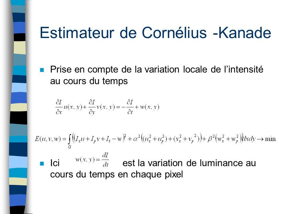 Estimateur de Cornélius -Kanade n Prise en compte de la variation locale de lintensité au cours du temps n Ici est la variation de luminance au cours